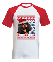 Santa King Charles Spaniel Christmas - Cotton Baseball Tshirt All Sizes In Stock - $21.49