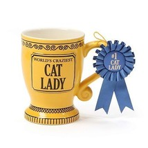 """Our Name is Mud """"World's Craziest Cat Lady"""" Blue Ribbon Trophy Stoneware... - $16.13"""