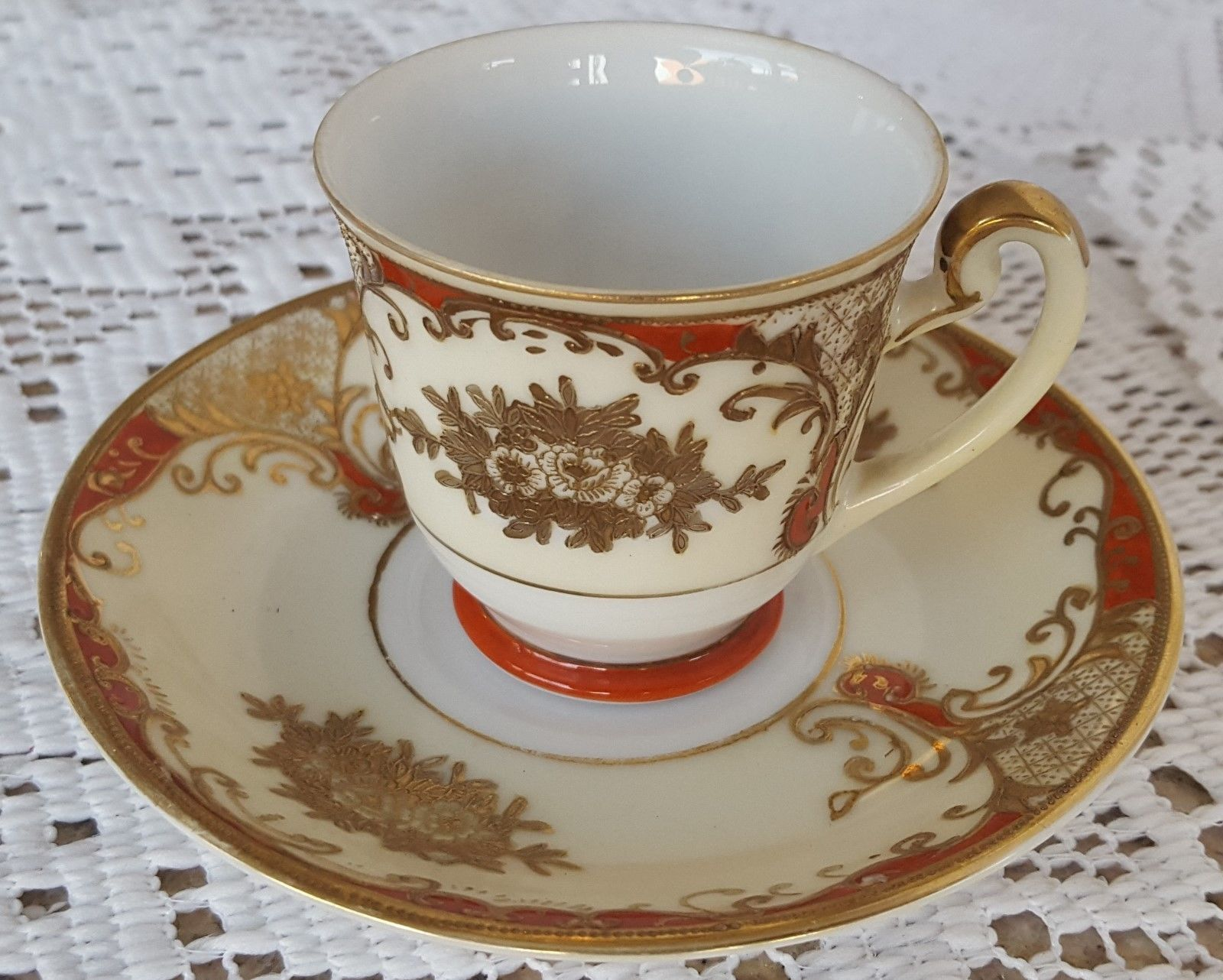 Meito China Foreign Hand Painted Demitasse Cup & Saucer Set Fine China  Orange Re