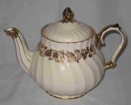 "Neat Vintage 9"" X 8"" X 4"" SADLER Swirl Teapot Tea Pot Cream & Gold - $105.29"