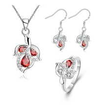 S127 Leaf Pattern Plated Necklace Earrings Ring Fashion Jewelry Set - Red - $12.20