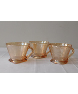 Jeannette Glass Floragold Louisa Iridescent Marigold Carnival 3 Cups - $9.99