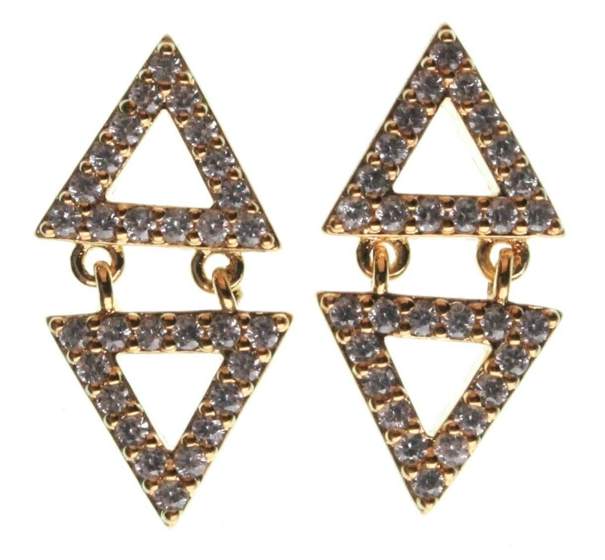 Jardin Yellow Gold Plated Pave Cubic Zirconia Mini Double Triangles Earrings NWT