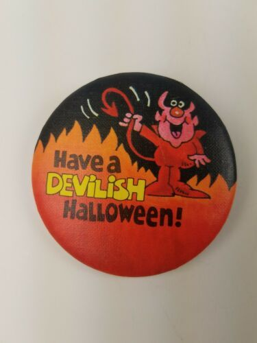 Primary image for 1982 Round Hallmark Holiday Halloween Pin Have A Devilish Halloween Orange Black