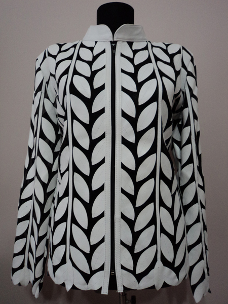 White leather leaf jacket women design 04 genuine short zip up light lightweight 1