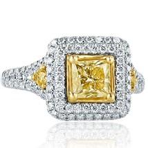 2.08 TCW Princess Cut Yellow Diamond Engagement Ring 18k White Gold - $3,563.01
