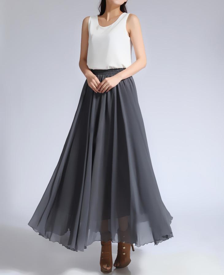 Chiffon skirt gray 2