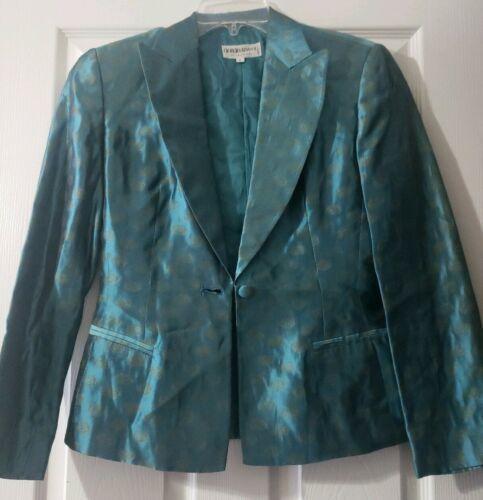 Women's Giorgio Armani Le Collezioni Silk Skirt Suit Teal w/ Gold Size 6 Jacket image 3