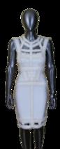 Hervé Léger Alabaster Sleeveless Rouched Chiffon Trimmed Sheath Dress (S... - $1,200.00