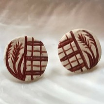 Estate Cream w Rust Plaid & Wheat Grass Round Pottery Post Earrings for ... - $10.39