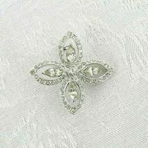 """Vintage Cross Brooch Pin 1.5"""" Silver Metal Clear Rhinestones - $16.82"""