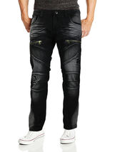 Contender Men's Cotton Moto Quilted Zip Distressed Ripped Destroyed Denim Jeans image 6