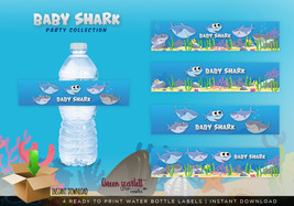 Baby Shark Party - Water Bottle Label - INSTANT DOWNLOAD - Ready to prin... - $2.49