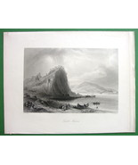 SLOVAKIA Theban Devin Castle on Danube River - 1840 Antique Print by Bar... - $13.77