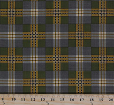 Jo Morton Charleston Green Plaid Civil War Cotton Fabric Print BTY M720.02 - $10.95