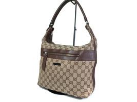 GUCCI GG Pattern Canvas Leather Browns Shoulder Bag GS12538L - $169.00