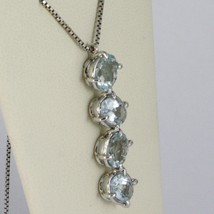 Necklace White Gold 750 - 18K, Pendant Aquamarine Oval CT 3.20 Chain Venetian image 2