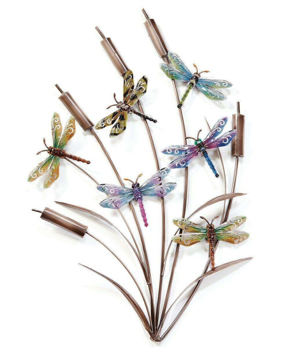 "28"" Stunning Cattails & Dragonflies Metal Wall Decor with 6 Dragonflies"