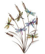 """28"""" Stunning Cattails & Dragonflies Metal Wall Decor with 6 Dragonflies - $108.89"""