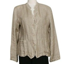 EILEEN FISHER Natural Organic Linen Doubleweave Stand Collar Jacket PS - $159.99