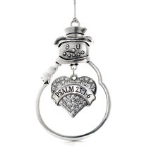 Inspired Silver Psalm 23:1-6 Pave Heart Snowman Holiday Christmas Tree Ornament  - $14.69