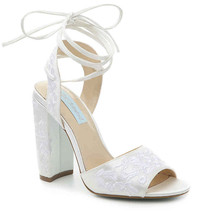 Betsey Johnson Raine Ivory Satin Embroidered Lace Up Wedding Heel Pumps ... - $59.00