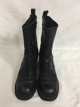Mia Chunky Leathe Ankle Boots Sz 6 M Black Round Toe Zip Up - $18.69