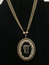 Vintage Lady Intaglio Glass Art Gold Tone and Crystal Brooch Pendant Nec... - $45.00