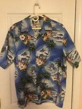 Hilo Hattie Original Hawaiian Shirt XL Blue W/waves,flowers,Palm Trees - $26.50