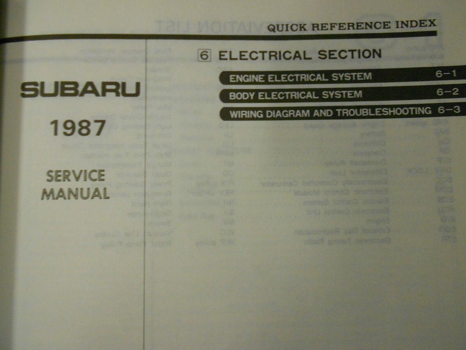 1987 Subaru XT Service Reparatur Shop Manuell Set Fabrik OEM Bücher 87 image 7