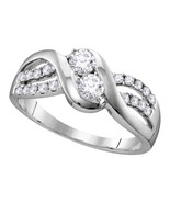 10kt White Gold Round Diamond 2-stone Bridal Wedding Engagement Ring 5/8 Ctw - $890.64