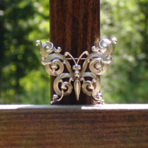Vintage Crown Trifari© Ornate Scroll Butterfly Brooch, Silver