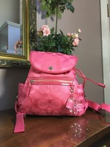 New Coach Coral Backpack Bag Signature Optic Kyra Textured 19673 B2R - $116.09