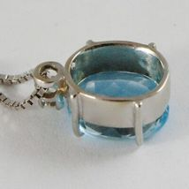 18K WHITE GOLD NECKLACE, PENDANT WITH OVAL BLUE TOPAZ & DIAMOND, VENETIAN CHAIN image 3