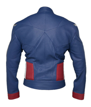 Avengers Endgame Captain America Vintage Costume Chris Evans Blue Leather Jacket image 2