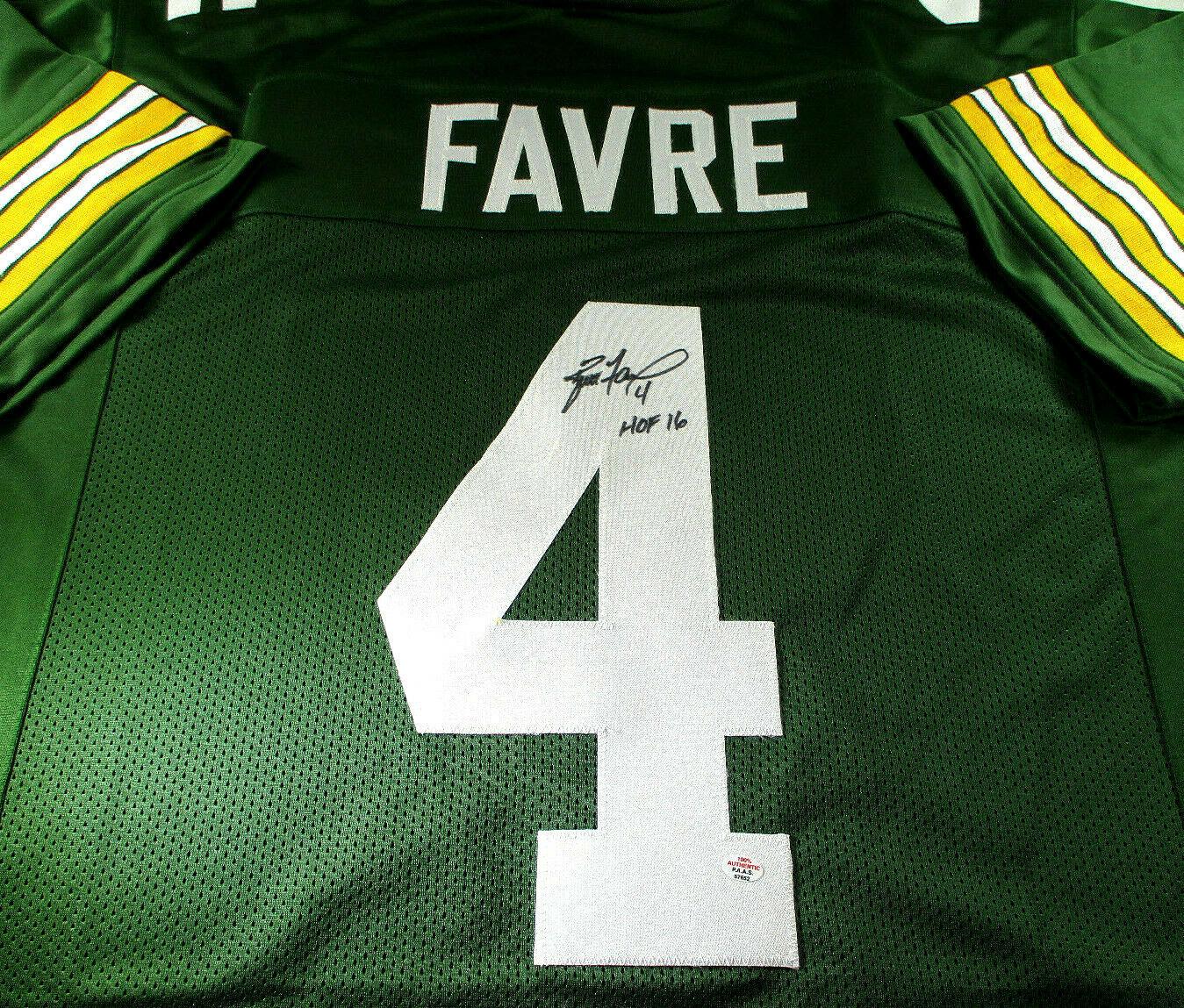 BRETT FAVRE / NFL HALL OF FAME / HAND SIGNED GREEN BAY PACKERS CUSTOM JERSEY COA