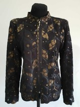 Gold Spotted Black Genuine Leather Leaf Jacket Womens All Sizes Zipper S... - $115.00