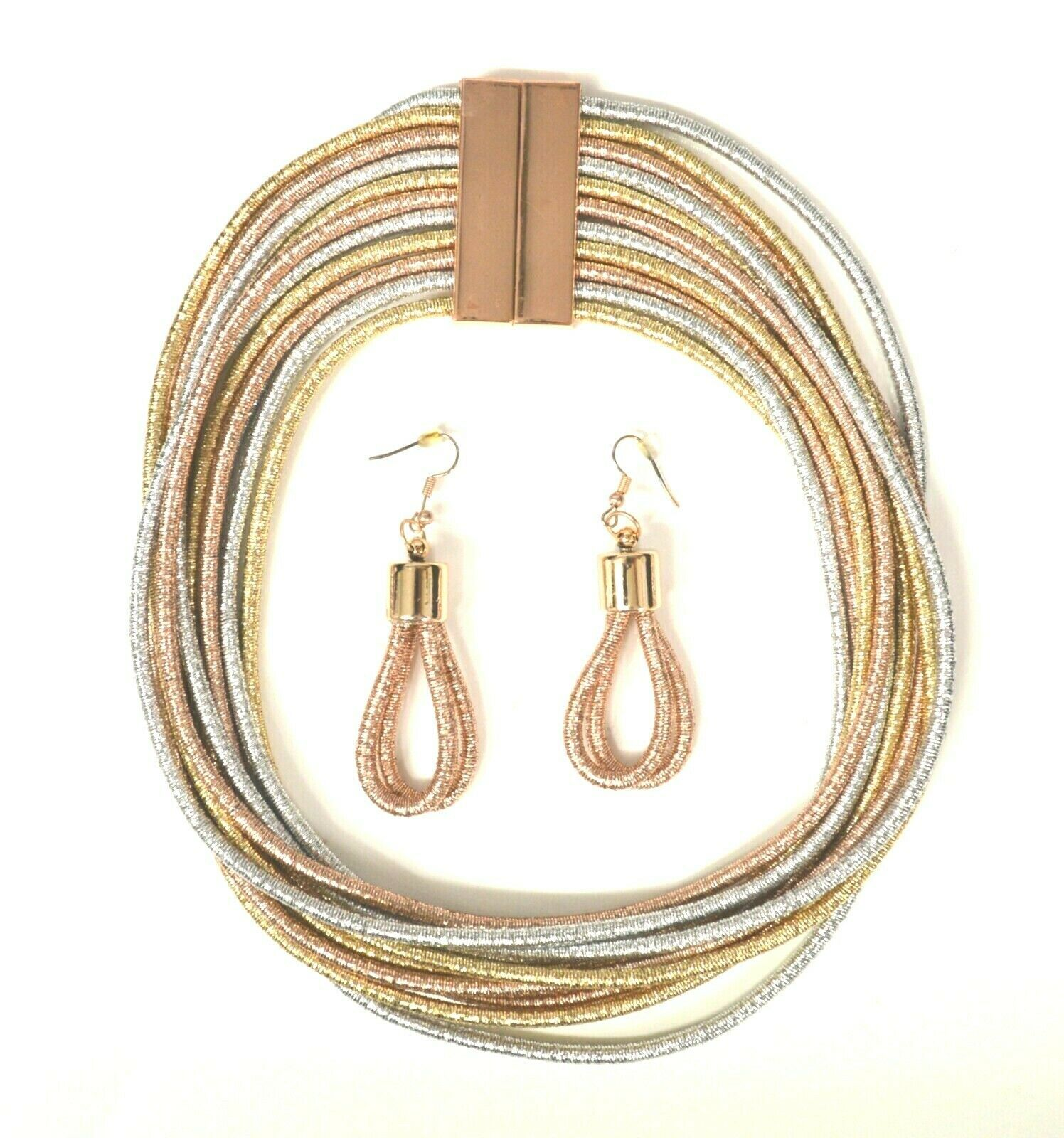 Primary image for STATEMENT COIL ROPE DRAPE MULTI LAYER MAGNETIC CHOKER NECKLACE EARRING SET GOLD