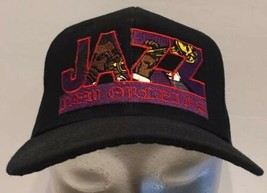 Vintage Jazz New Orleans Snapback Hat Cap Black Wool Blend Trumpet - $18.69