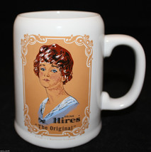 """Drink Hires Root Beer """"The Original"""" White Ceramic Stein Soda Mug Cup Lady - $41.09"""