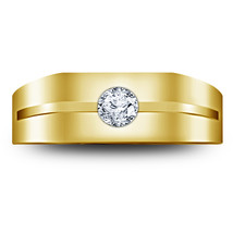 Mens Solitaire Wedding Anniversary Ring 14k Yellow Gold Finish 925 Solid Silver - $84.99