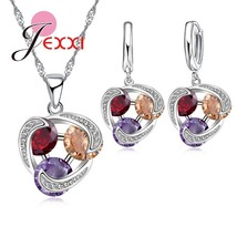 3 Color Crystal Jewelry Set For Female Girls 925 Sterling Silver Pendant... - $12.83