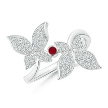 0.41ct Ruby and Diamond Double Butterfly Ring in Gold Size 3-13 - $1,097.10