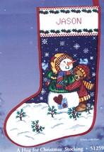 Candamar A Hug for Christmas Snowman Bear Snow Cross Stitch Stocking Kit 51259 - $92.95