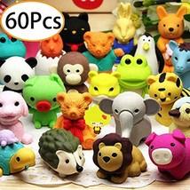 60Pcs Animal Pencil Erasers Bulk Kids Japanese Come Apart Puzzle Eraser ... - $18.99