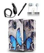 LG K10 (2018) K30 Blue Butterfly Design Flip Flap Pouch Magnetic Wallet ... - $13.99