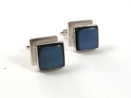 1960's Silvertone & Light Blue Cufflinks By SWANK 31817 - $22.99