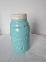 g65q Retro Mason Jar Shape 4pc Stacking Measuring Cups Ceramic TEAL - $19.00