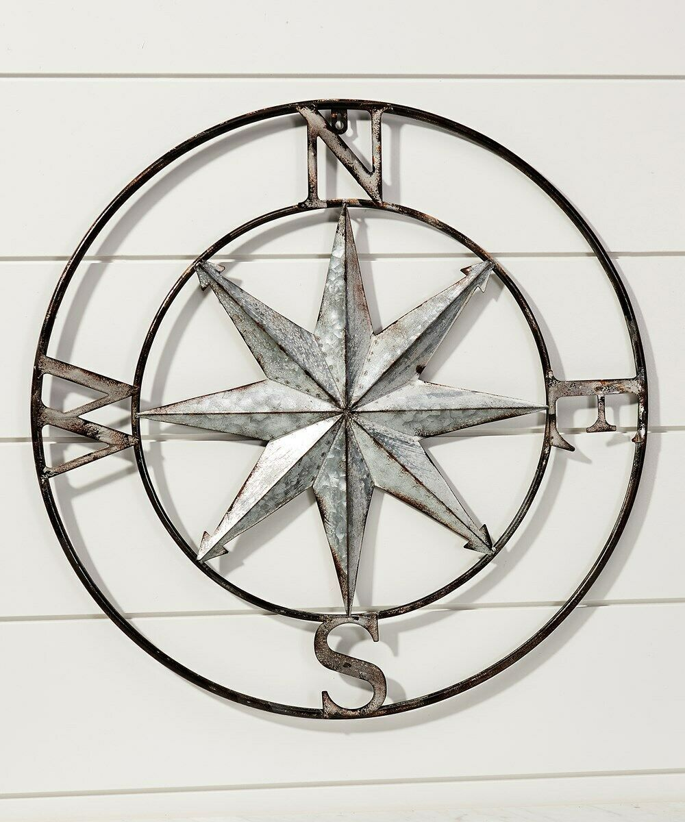 "24"" Galvanized Metal Compass Star Wall Decor Piece"
