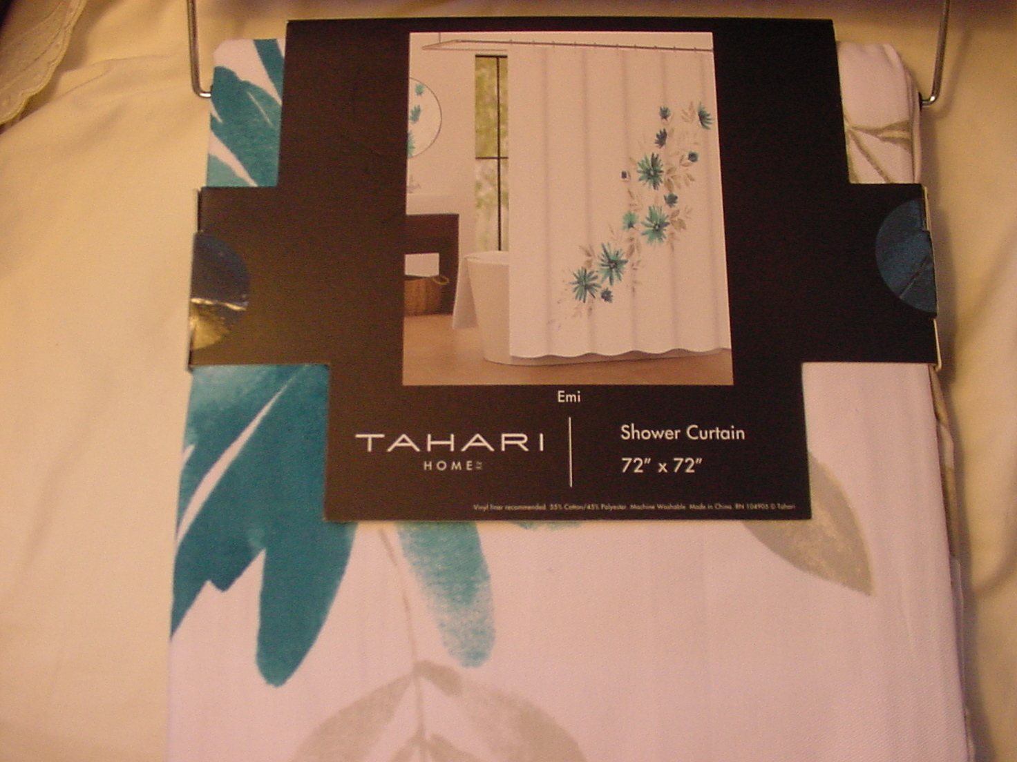 Tahari Emi Turquoise and Gray Floral on White Shower Curtain